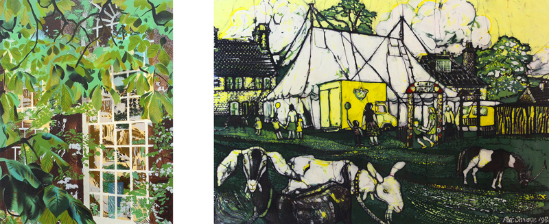 Brendan Neiland, Alices Garden, Christchurch (left). Pat Savage, Travelling Circus on Chipstead Common, 1981 (right). Part of the Paintings in Hospitals collection.