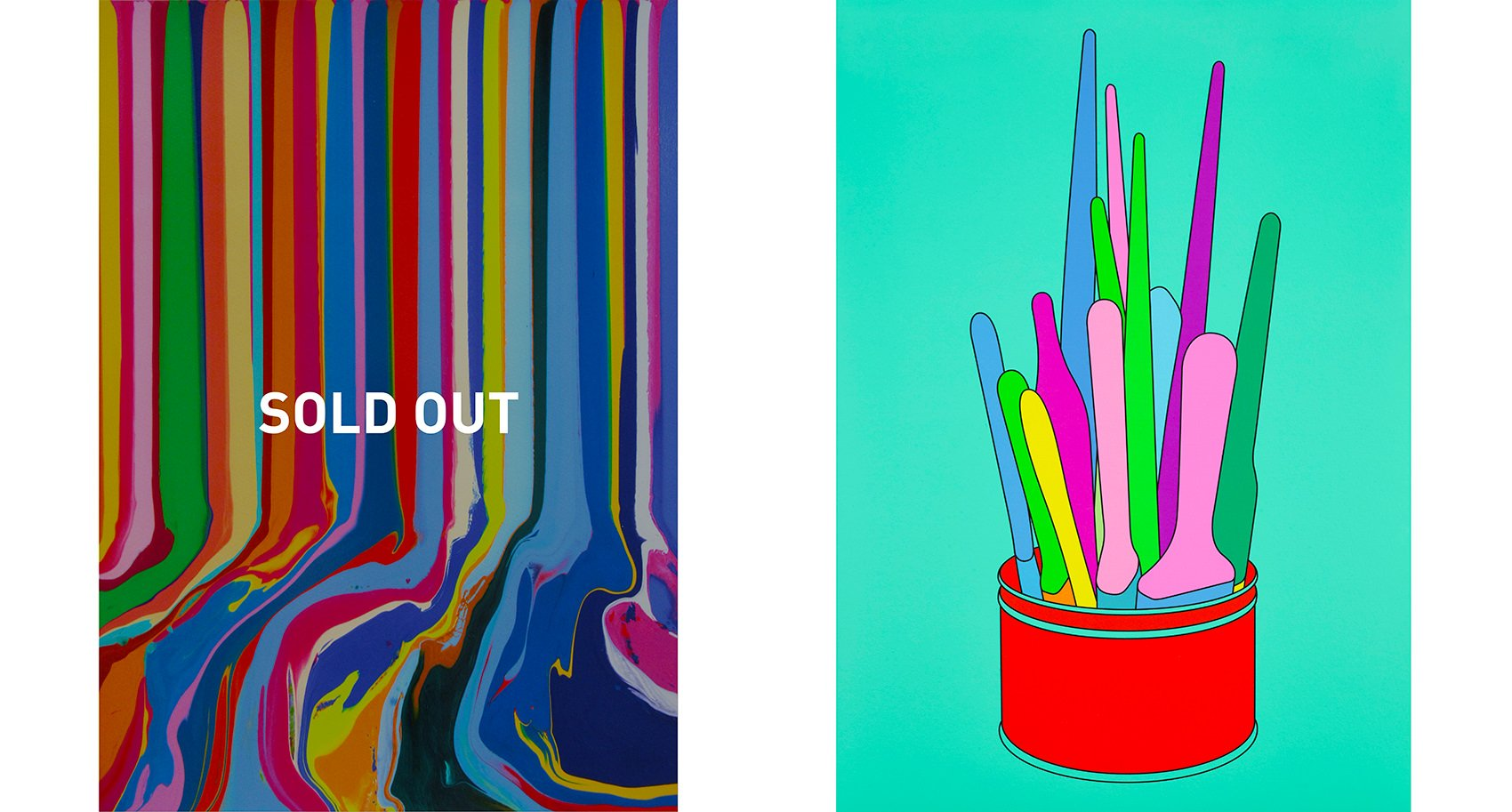 'Chromatastic Paintings in Hospitals' by Ian Davenport, 2016 and Savarin Can (Turquoise) by Michael Craig-Martin, 2018.