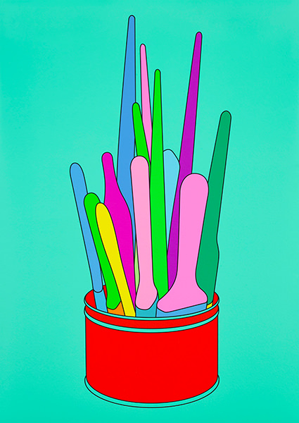 Michael Craig-Martin, Savarin Can (Turquoise), 2018. Archival inkjet. Limited edition of 50, signed and numbered by the artist.