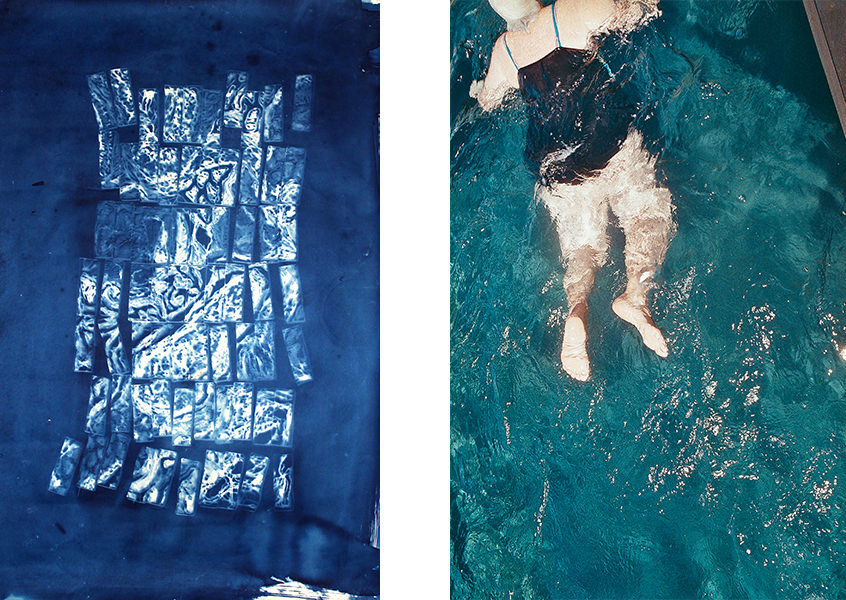 'Cyanotype B' by Jess Reeves (left) and '100 Lengths' by Kate Wixley. Part of the Bathed in Blue exhibition.