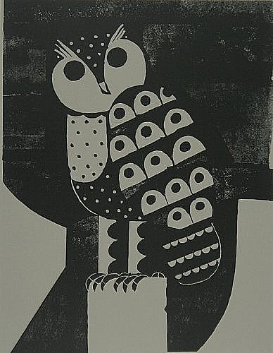 Reg Cartwright, Owl. Part of the Paintings in Hospitals collection on display at Risca Surgery.