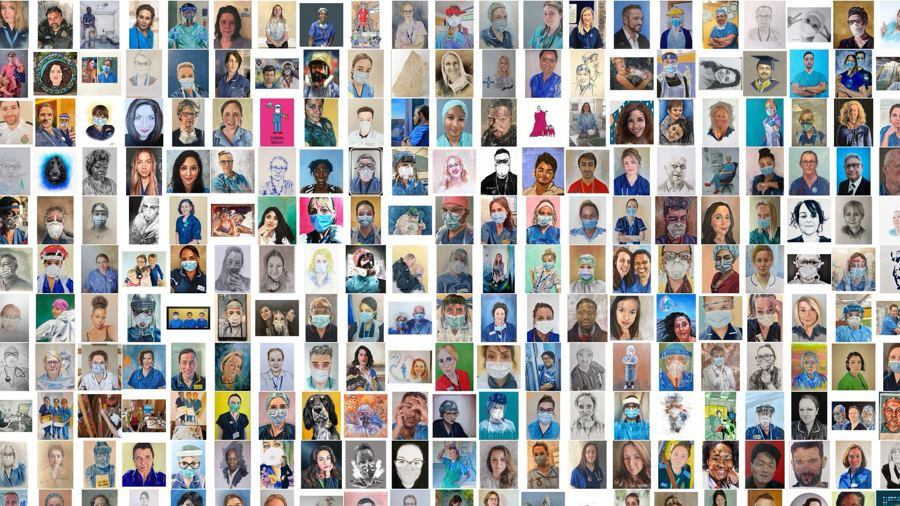 A selection of artwork images from 'Healthcare Heroes' exhibition, a collaboration between Paintings in Hospitals and artist Tom Croft launching 20th August 2020 on Google Arts & Culture.