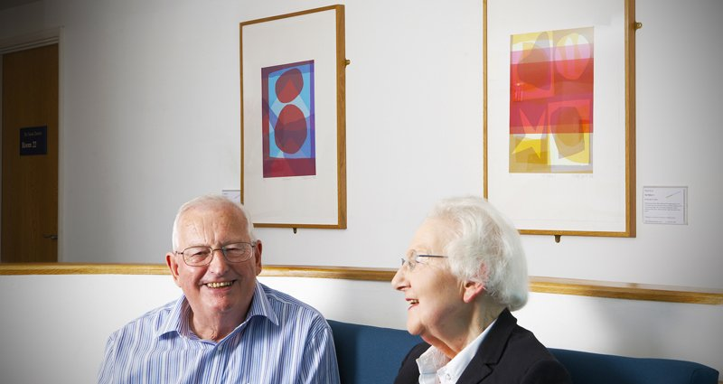 Older people at Bedminster Family Practice, with artworks by Biddy Bunzl