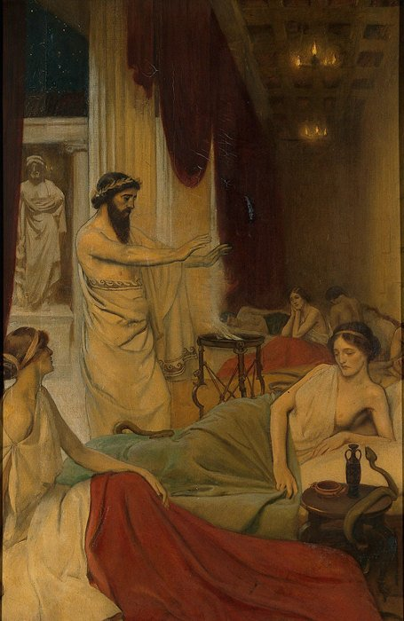 Patients sleeping in the temple of Aesculapius at Epidaurus. Oil painting by Ernest Board. Credit: Wellcome Collection.