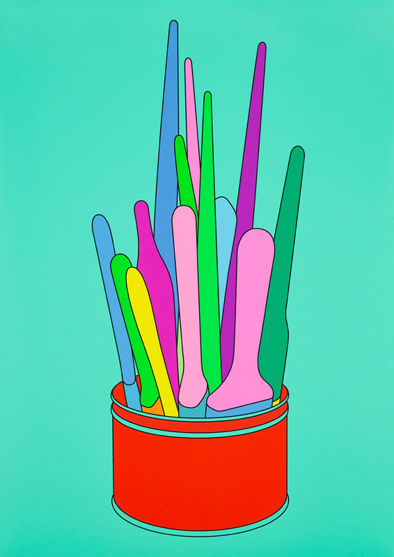 Michael Craig-Martin, Savarin Can (Turquoise), 2018. Avaiable for purchase exclusively from Paintings in Hospitals.