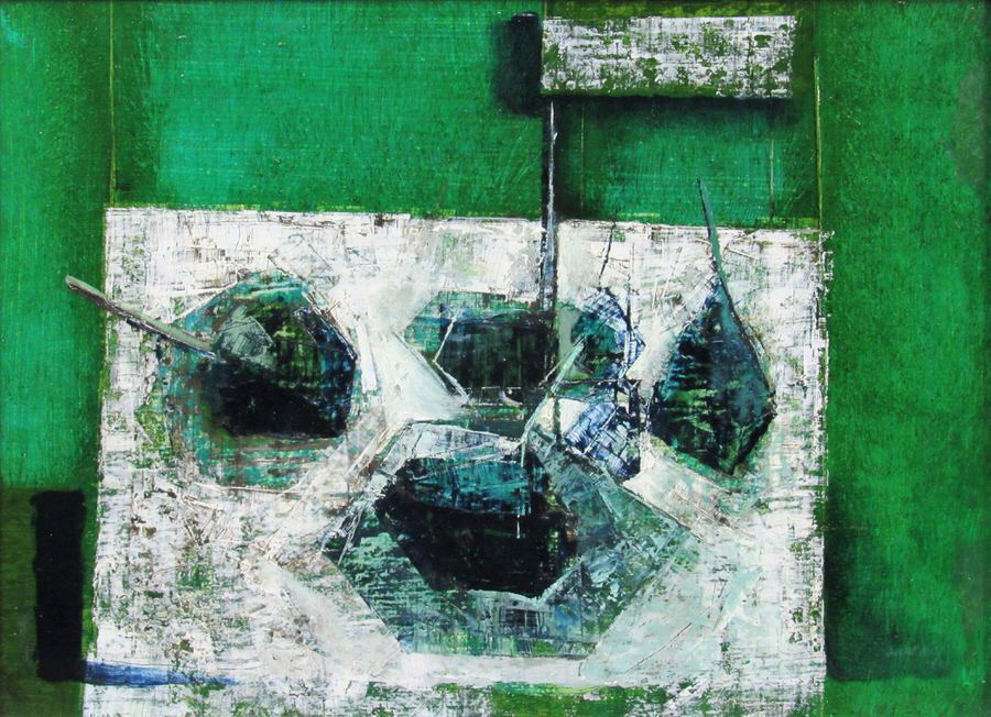 David Walsh, Blue Green Table Piece, 1960. One of the very first artworks to join the Paintings in Hospitals collection.
