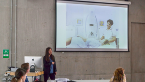 Amisha Karia, Head of Collection, Loans and Programming, talks to students at Central Saint Martins about Paintings in Hospitals.