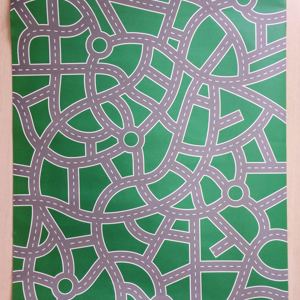 Roads on a Green Background Wrapping Paper