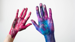 Paint covered hands