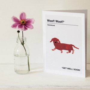 Greetings Cards: 'Dachsund Get Well Soon' by Hanna Melin