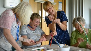 Sticks and Stories workshop at St Michaels Hospice. A Paintings in Hospitals creative activity based on Jill Rocks The Story Stick.