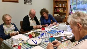 Paintings in Hospitals sculpture-making activity with residents of Hartismere Place, Eye.
