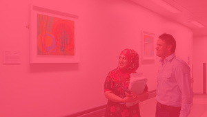 Paintings in Hospitals work in hospital with red overlay